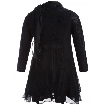 Scarf Lace Splicing Plus Size Dress - BLACK BLACK
