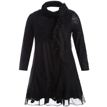 Scarf Lace Splicing Plus Size Dress - BLACK XL