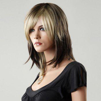 Medium Straight Side Bang Color Mixed Synthetic Wig - COLORMIX