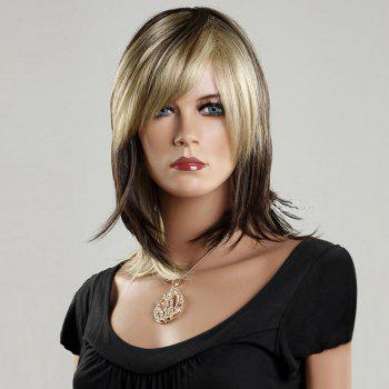 Medium Straight Side Bang Color Mixed Synthetic Wig