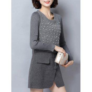 Paneled Beaded Woolen Dress - GRAY M