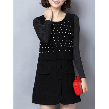 Paneled Beaded Woolen Dress