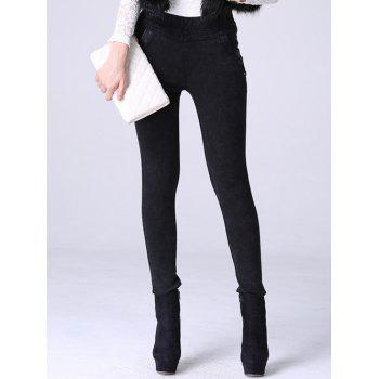 High Waisted Denim Fleece Cigarette Pants