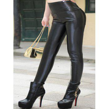 Plus Size High Waist PU Leather Pants
