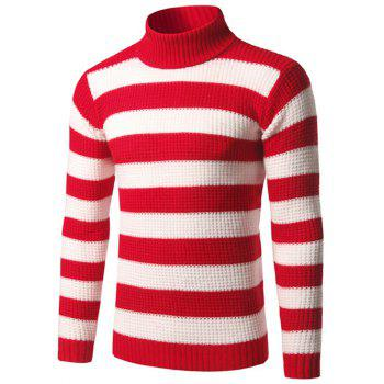 Texture Turtleneck Striped Sweater