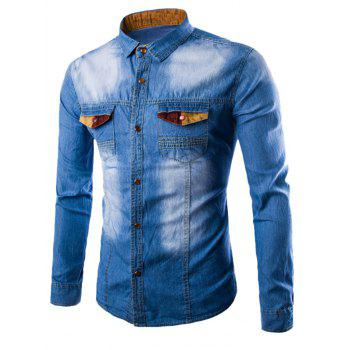 Spliced Embellished Pocket Denim Shirt - LIGHT BLUE L