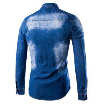 Spliced Embellished Pocket Denim Shirt - CERULEAN CERULEAN