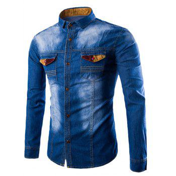 Spliced Embellished Pocket Denim Shirt