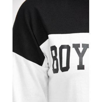 Round Boyfriend Neck Graphic T-Shirt Color Block - Blanc S