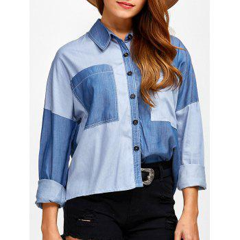 Color Block Pockets Patched Chambray Shirt