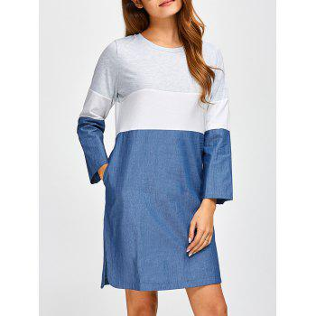Long Sleeve Color Block Casual Denim Dress