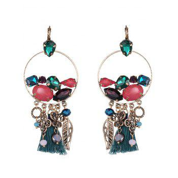 Hollowed Circle Faux Gem Tassel Earrings