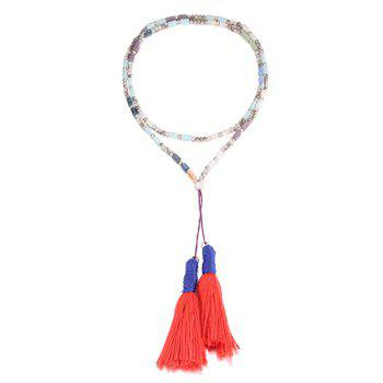 Layered Long Fringe Pendant Necklace