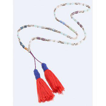 Layered Long Fringe Pendant Necklace -  JACINTH