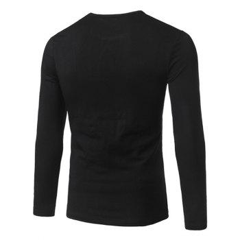 Long Sleeve Vertical Striped T-Shirt - BLACK BLACK