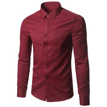 Button Up Chest Pocket Plain Shirt - BURGUNDY 5XL