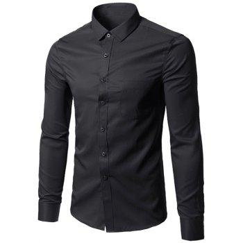 Button Up Chest Pocket Plain Shirt - BLACK BLACK