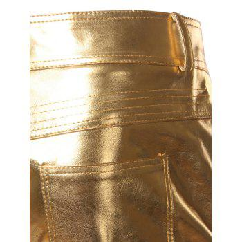 Straight Leg Zipper Cuff Metallic Pants - GOLDEN GOLDEN