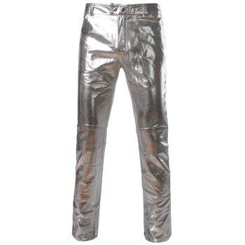 Straight Leg Zipper Cuff Metallic Pants