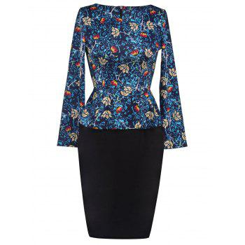 Printed Long Sleeve Pencil Peplum Dress