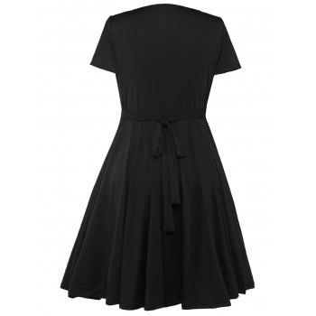 Plus Size Surplice Casual Midi A Line Dress With Short Sleeve - BLACK BLACK