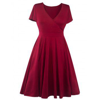 Plus Size Surplice Casual Midi A Line Dress With Short Sleeve - WINE RED 2XL