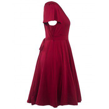 Plus Size Surplice Casual Midi A Line Dress With Short Sleeve - WINE RED WINE RED