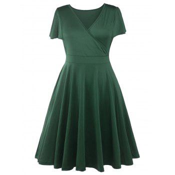 Plus Size Surplice Casual Midi A Line Dress With Short Sleeve - GREEN GREEN