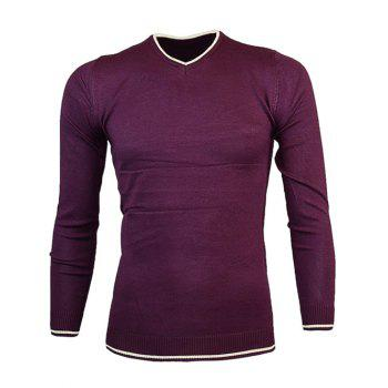 Slim Fit V Neck Color Block Pullover Knitwear