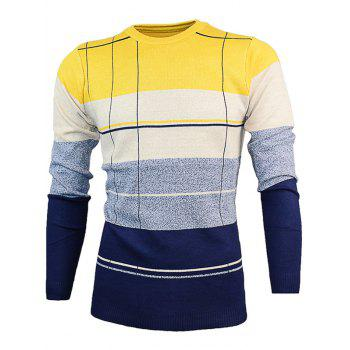 Slim Fit Crew Neck Color Block Pullover Knitwear