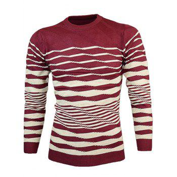 Slim Fit Crew Neck Wave Stripe Pullover Knitwear