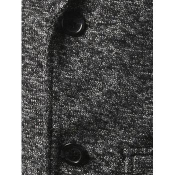 Flap Pocket Texture Back Vent Two Button Coat - DEEP GRAY M