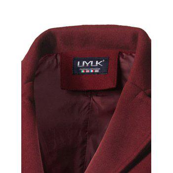Back Vent Single Breasted Woolen Coat - BURGUNDY 3XL