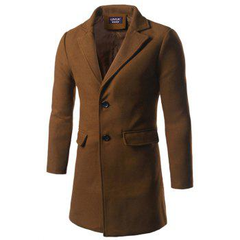 Back Vent Single Breasted Woolen Coat - CAMEL CAMEL