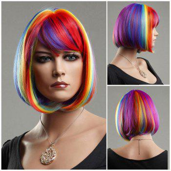 Short Side Bang Rainbow Straight Cosplay Synthetic Wig