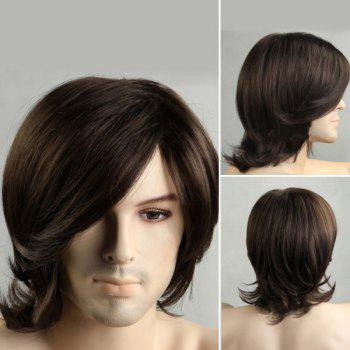 Medium Tail Upward Side Bang Men's Synthetic Wig - BLACK BLACK