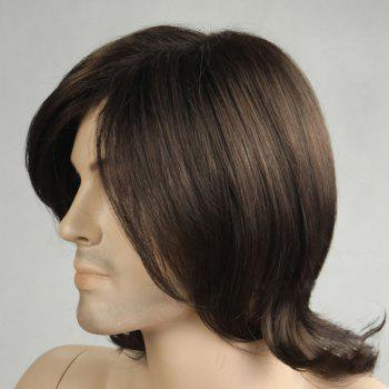 Medium Tail Upward Side Bang Men's Synthetic Wig -  BLACK