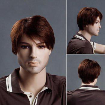 Short Straight Side Bang Men's Synthetic Wig - BROWN BROWN