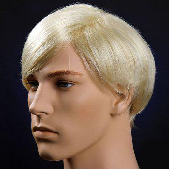 Short Straight Oblique Bang Men's Synthetic Wig -  VENETIAN GOLD