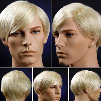 Short Straight Oblique Bang Men's Synthetic Wig - VENETIAN GOLD VENETIAN GOLD