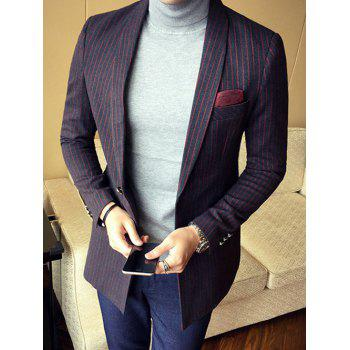 Slim Fit Shawl Collar Back Split Striped Blazer