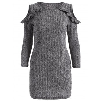 Cold Shoulder Ruffles Bodycon Sweater Dress