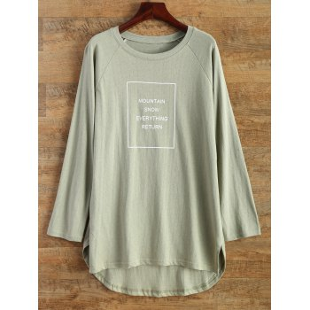High Low Round Neck Graphic T-Shirt