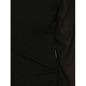 Plus Size Long Sleeve Ruched Dress - BLACK BLACK