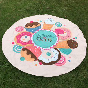 Delicious Sweets Cake Donut Print Round Beach Throw
