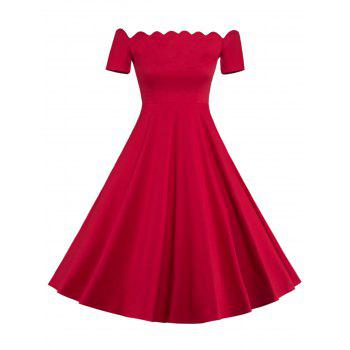 Off The Shoulder Vintage Party Skater Dress