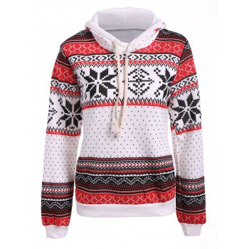 Buy Polka Dot Christmas Snowflake Pullover Hoodie RED/WHITE