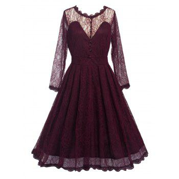 Vintage Lace Party Skater Dress with Sleeves