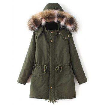 Buy Faux Fur Collar Quilted Parka ARMY GREEN