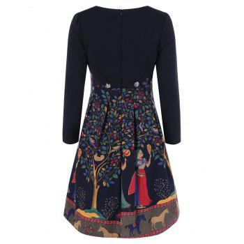 Fit and Flare Patterned Dress - BLACK 2XL